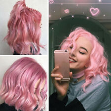 Short Pink Curly Wigs with Bangs for Women Halloween Dressing Wig Synthetic AU