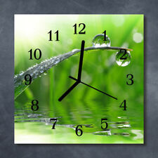 Glass Wall Clock Kitchen Clocks 30x30 cm silent Drop Of Dew Green