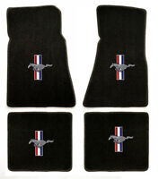 NEW! 1965-1973 Black Floor Mats Mustang Pony Bars Embroidered Logo on all 4 mats