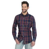 Wrangler Men's Retro Indigo Plaid Snap Up Western Shirt MVR481M