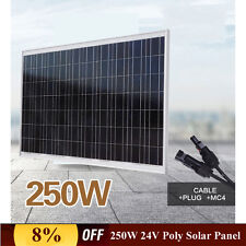 NEW 250W 24V Solar Panel Poly High Power for Home Caravan Camping Battery Charge