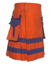 New Handmade Orange Scottish Utility Kilt with expedited fast shipping