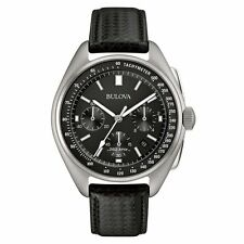 NEW Bulova 96B251 Mens Special Edition Moon Black Leather Strap Watch RRP £489