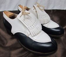 VINTAGE DUPONT CORFAM BLACK WHITE WINGTIP GOLF SHOES WITH CLEATS 6