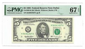 1995 $5 DALLAS FRN, PMG SUPERB GEM UNCIRCULATED 67 EPQ BANKNOTE