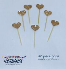 PAPER CUPCAKE TOPPER PICKS MINI ROSE GOLD COPPER GLITTER HEARTS ENGAGEMENT PARTY