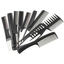 10Pcs Hair Styling Comb Kits Professional Black Hairdressing Brush Barbers Tools