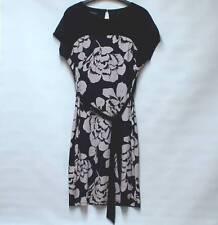 LAURA ASHLEY Elegant Black & Taupe Floral Dress Cap Sleeves Fully Lined UK 8