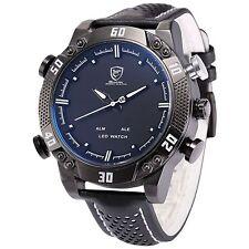 SHARK Black Steel LED Day Date Analog White Men's Sport Leather Quartz Watch