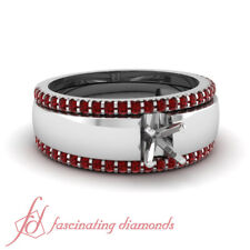 Platinum Semi mount colored stones settings - ruby rings - create your own ring