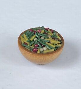 Vintage Artisan Miniature Dollhouse Tai Food Wood Bowl Food Diorama