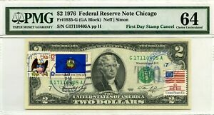 $2 DOLLARS 1976 FIRST DAY STAMP CANCEL VERMONT LUCKY MONEY VALUE $3000