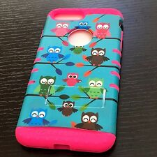 iPhone 7+ / 8+ Plus - HYBRID HARD&SOFT ARMOR CASE COVER HOT PINK TURQUOISE OWLS