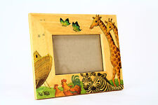 Vintage Noah's Ark Picture Photo Frame Hand Painted Wooden 3 x 5 Watercolor Kids