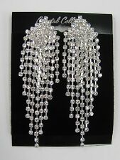 Silver Clear Rhinestone Crystal Dangle Drop CLIP ON Earrings  #42 Wedding Prom