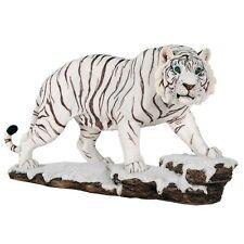 White Tiger Blue Eyes Watching Stalking Prey Animal Lover Figurine Statue