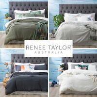 Washed 100% Natural Cotton Textured Duvet Quilt Cover Set   4 Colours QB KB SKB