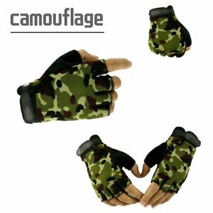 Kids Bicycle Tactical Fingerless Gloves Anti-skid Half Finger Military Mittens .