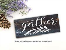 "Gather  Wood Sign Shelf Sitter Farmhouse 8x3x1/8"" Family Inspirational Kitchen"