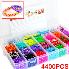 Large Rainbow Loom Band Case Kit- 4400 Bands Board Loom Hooks Clips +Free Charms