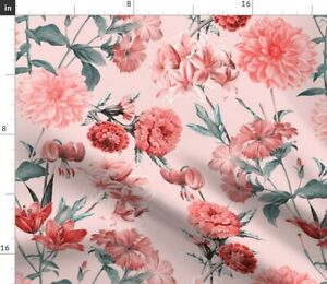 Pink Blush Vintage Flowers Flower Floral Nature Spoonflower Fabric by the Yard