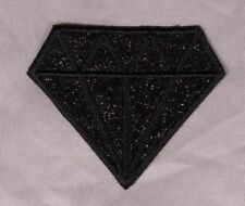 Embroidered Glitter Sparkle Jet Black Diamond Gem Applique Patch Iron On Sew USA