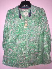 Women's Charter Club Shirt Shop Relaxed Fit Green Paisley Button Down Shirt 16W