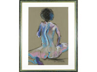 * REDUCED * Female Nude Study, Signed Pastel Drawing Painting Original Art