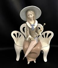 """~FREE Shipping~Lladro """"Waiting in the Park"""" (1374 Mint Condition) Girl on Bench"""
