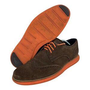 Cole Haan LunarGrand C11097 161 Wing Tip Brown Suede Orange Men's Size 10.5 US