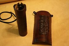 Pair Of Custom Leather Motorcycle Fork Covers with Celtic Weave Embossing Brown
