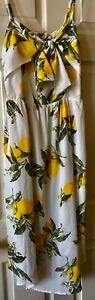 Moon River Lemon Print Midi Dress Medium NWT