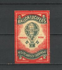 """Made in Holland """"Ballon"""" Baloon Old Vintage Matchbox Label"""