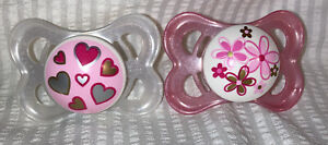 Vintage Mam Mini Ulti Silicone Pacifiers Pink/White Pearl,Hearts And Flowers
