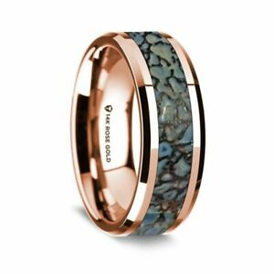 Blue Dinosaur Bone Inlay Polished 14K Rose Gold Beveled Edged Ring - 8mm