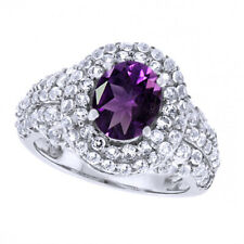 1.78Ct Oval Cut Purple Amethyst & White Topaz 14K Gold Over Halo Engagement Ring