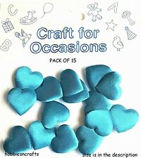 CRAFTS FOR OCCASIONS PACK OF 15 MEDIUM 2 CM PADDED FABRIC TURQUOISE BLUE HEARTS