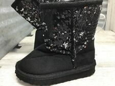 Gina Group Black Sequence Fashion Slip On Boots Girls Size 5/6C