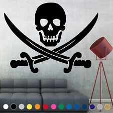 Pirate Flag Decal Sticker Jolly Roger Skull Wall Art Living Room House Decor v1
