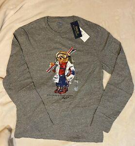 Genuine Polo Ralph Lauren Ski Bear Grey Heather Long Sleeve T Shirt, Size S NEW