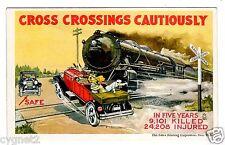 POSTCARD U.S. AUTOMOBILE & TRAIN CROSS CROSSINGS CAUTIOUSLY 1923 DAY LOWRY