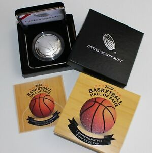 2020 P Basketball Hall of Fame Proof Silver Dollar Curved Coin Box and COA