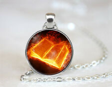 Vintage Book lover Cabochon Tibetan silver Glass Chain Pendant Necklace
