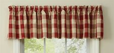 New Primitive Country Wicklow RED & TAN Plaid Check Curtain Window Valance