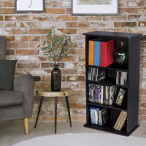 Multimedia Storage Tower Cabinet Cd Dvd Three Adjustable Shelves Wall Rack Brown