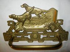 ANTIQUE CJO JUDD CAST IRON DOG SCULPTURE BATH WALL TOWEL PAPER ART RACK HOLDER