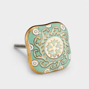 Mint Green, White & Gold Moroccan Ceramic Cupboard Drawer Door Knobs Pulls