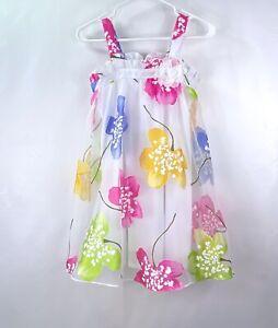BONNIE JEAN Girls Sun Dress White Floral Overlay Sz 10
