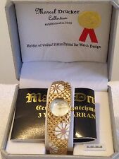 Vintage Marcel Drucker Collection Golden Floral Bracelet Watch 22-901 Boxed