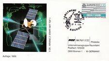 U59 enveloppe thème ESPACE ARIANE 2 Vol 26 sat TDF1 KOUROU 27 octobre 1988